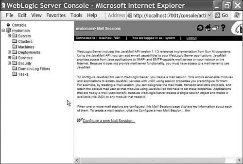 JavaMail and WebLogic Server