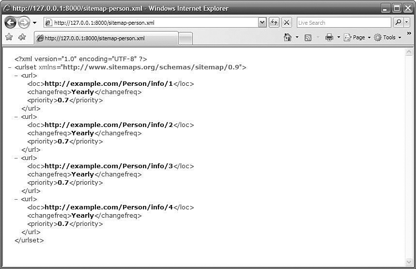 The sitemap-person.xml document of the iFriends website, showing the entries from the Person details view.